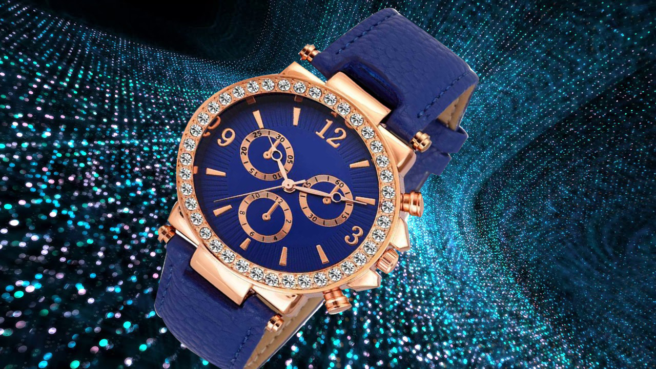 HRV Crono Dial BlueLeather Fancy Collection Women Watch