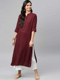 NG Fashion Women Solid Maroon Rayon A-line Kurta