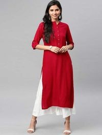 NG Fashion Women Solid Red Rayon A-line Kurta