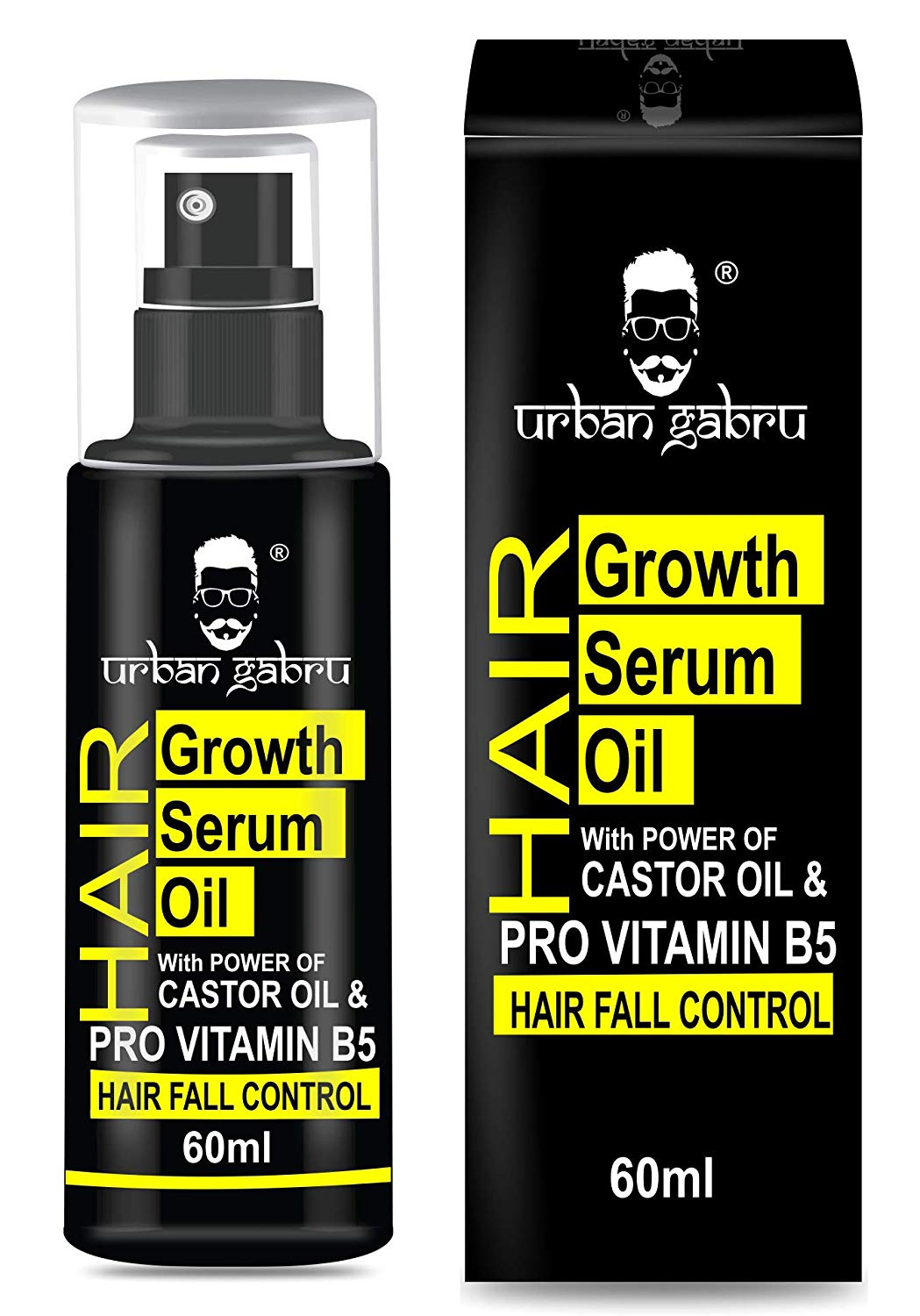 UrbanGabru  Hair Growth Serum oil with Castor oil - Hair fall control oil for Men & Women