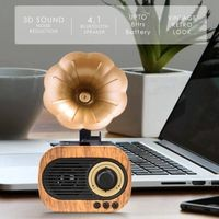 Gramophone Bluetooth Speaker With 3-6 Hour Playing Time, Built-In Mic, Handsfree Call, Aux Line, Usb Flash Drive, Micro Sd Card, Hd Stereo Sound And Bass