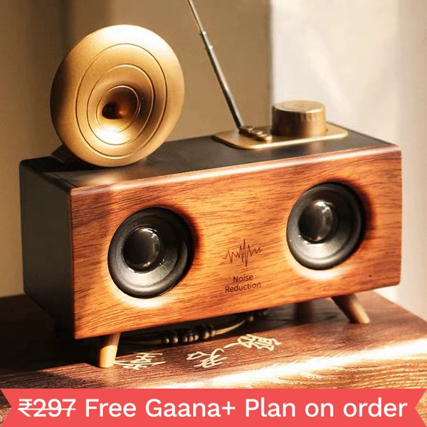 Woodpecker Bluetooth Speaker With 6-8 Hour Playing Time, Fm Radio,Built-In Mic, Handsfree Call, Aux Line, Usb Flash Drive, Micro Sd Card, Hd Stereo Sound And Bass(Brown Wooden)