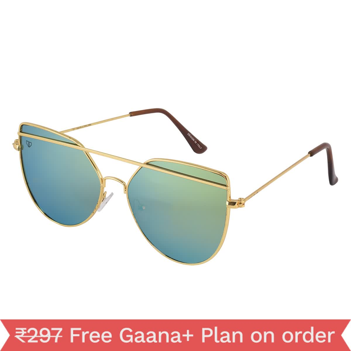 Walrus Rose Gold Polycarbonate Oval Frames Sunglass For Men