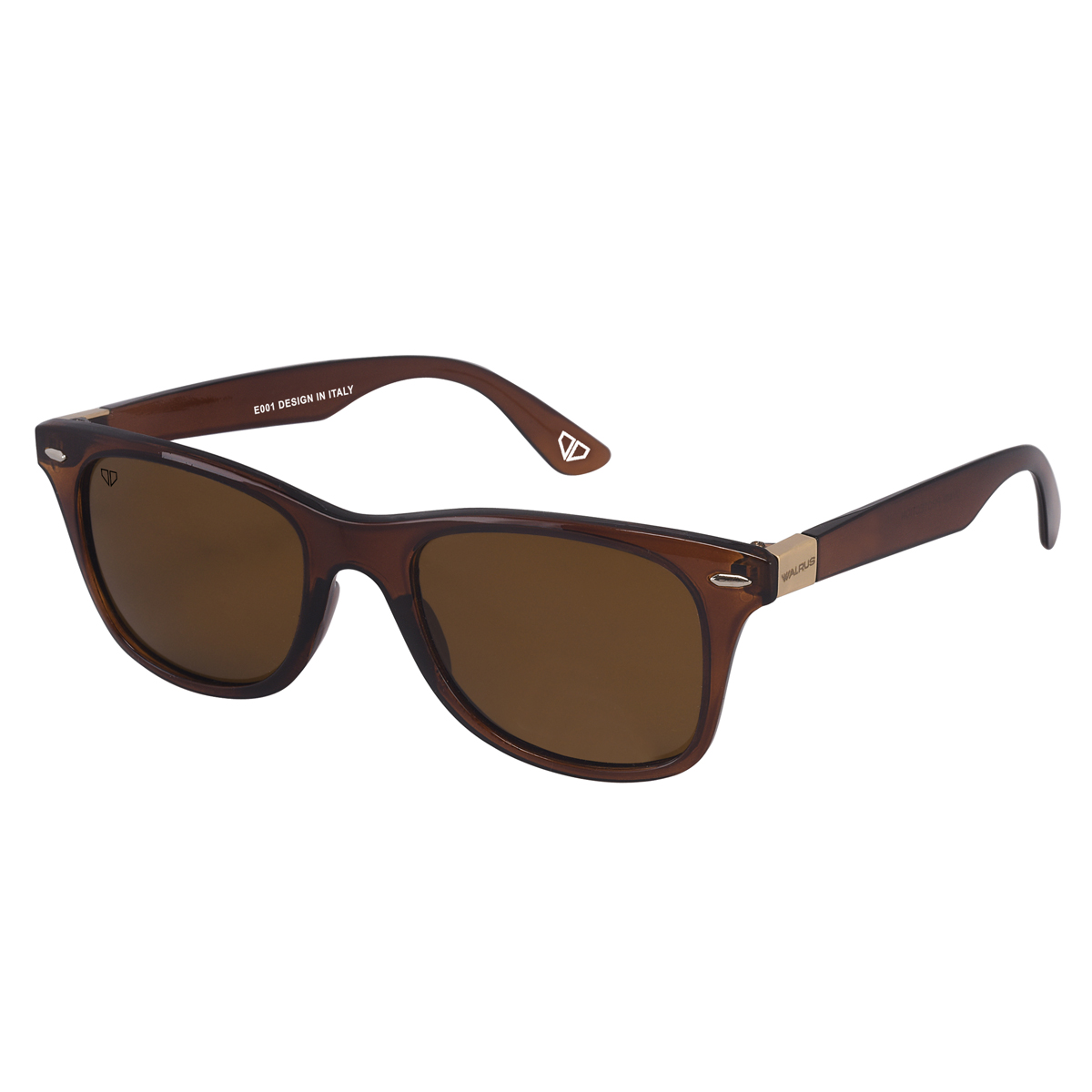 Walrus Brown Polycarbonate Wayfarers Sunglass For Men