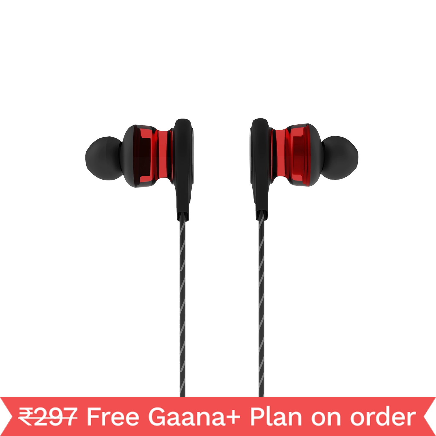 Corseca Scarlet Bassplus in-Ear Sporty Headphones with Integrated Mic and Volume Control (Maroon)