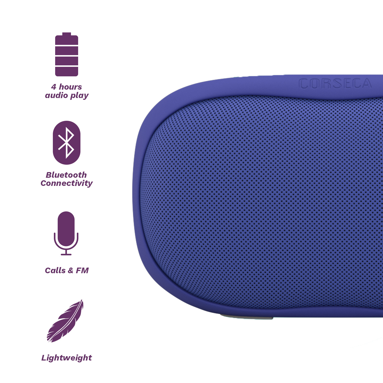Corseca Sushi 10W Wireless Portable Bluetooth Speaker with FM Radio HD Sound and Deep Bass with Built-in Mic SD Card and Aux (Blue)