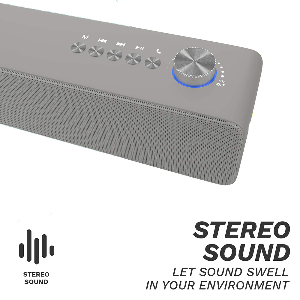 Corseca Amigo 3 Wireless Bluetooth Mini Sound Bar Speaker with Deep Bass and Built-in Microphone (Grey)