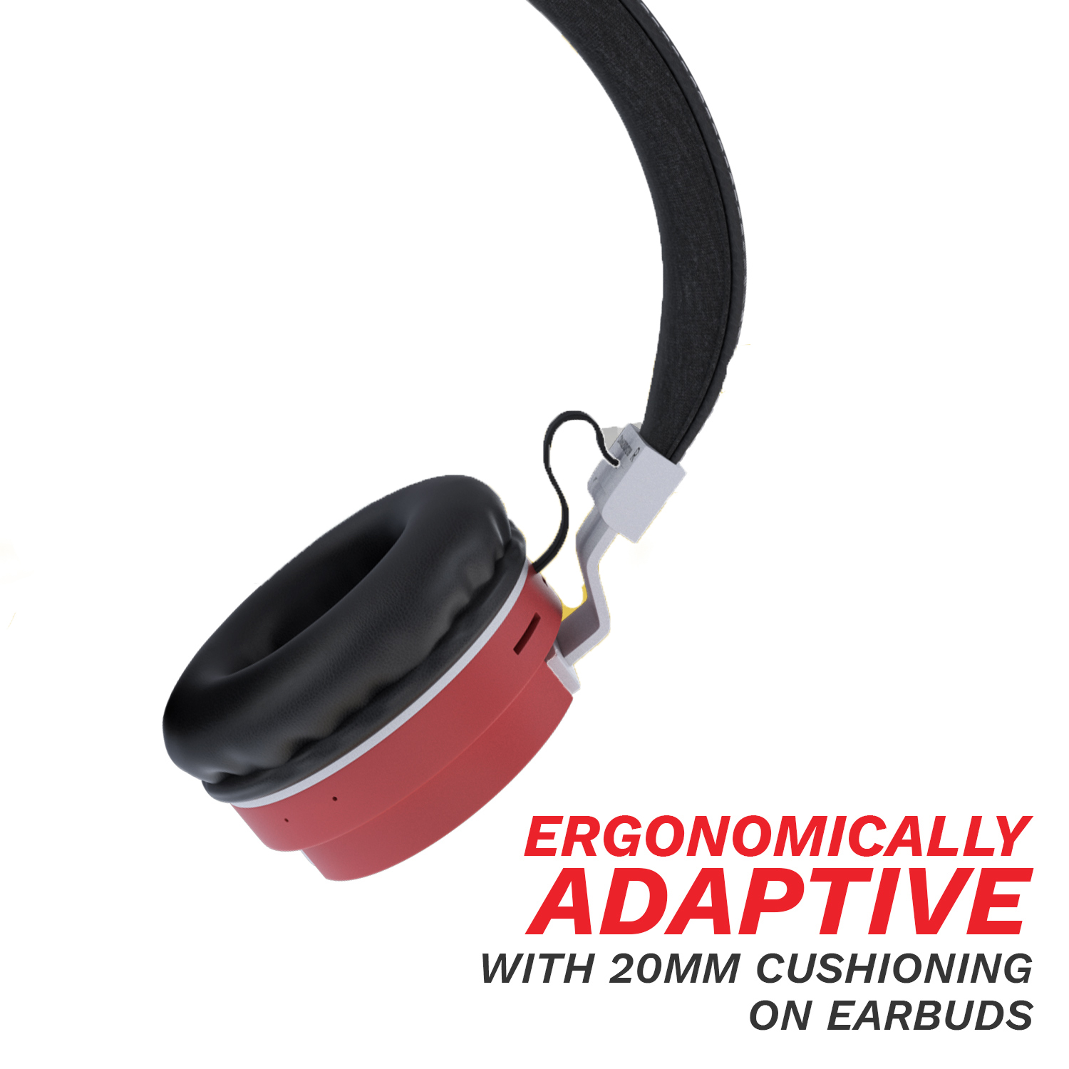 CORSECA Carnival On-Ear Wireless Headphones with Built in Mic DM6200 (Red)