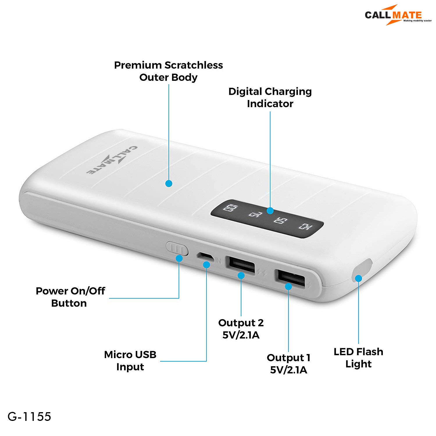Callmate G1155 2A Fast Charge 10000 -mAh Li-Ion Power Bank White