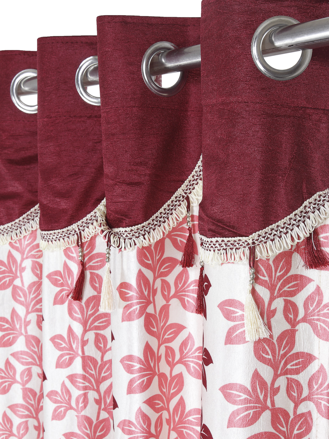 Cortina - Pack of 2 Decorative, Fancy, Eyelet Window Curtain set (150 x 115 cm), All over Leafy pattern, Maroon, Fringe and tassle detail