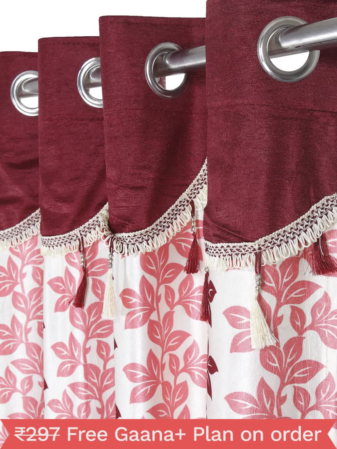 Cortina - Pack of 2 Decorative, Fancy, Eyelet Window Curtain set (150 x 115 cm), All over Leafy pattern, Maroon, Fringe and tassle detail  - 1, Small