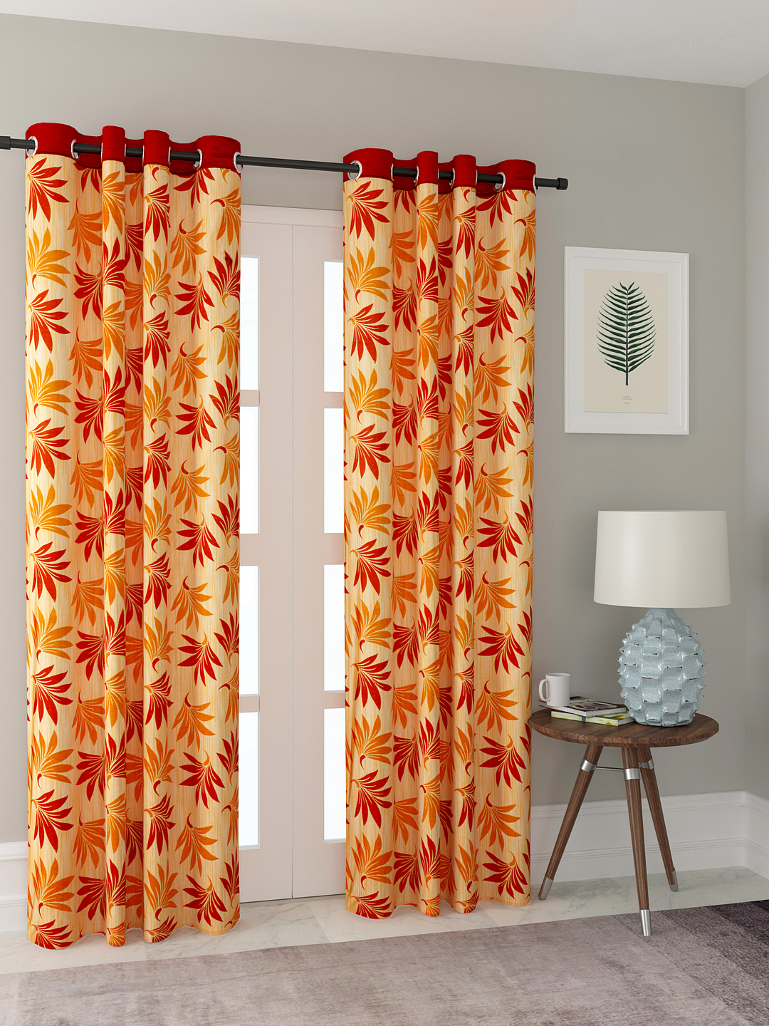 Polyester Printed Door Curtains for Bedroom, Kitchen, Kids or Living Room-023_Set of 2