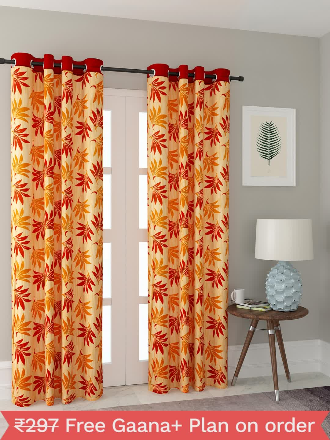 Polyester Printed Window Curtains for Bedroom, Kitchen, Kids or Living Room-023_Set of 2 - 1, Medium