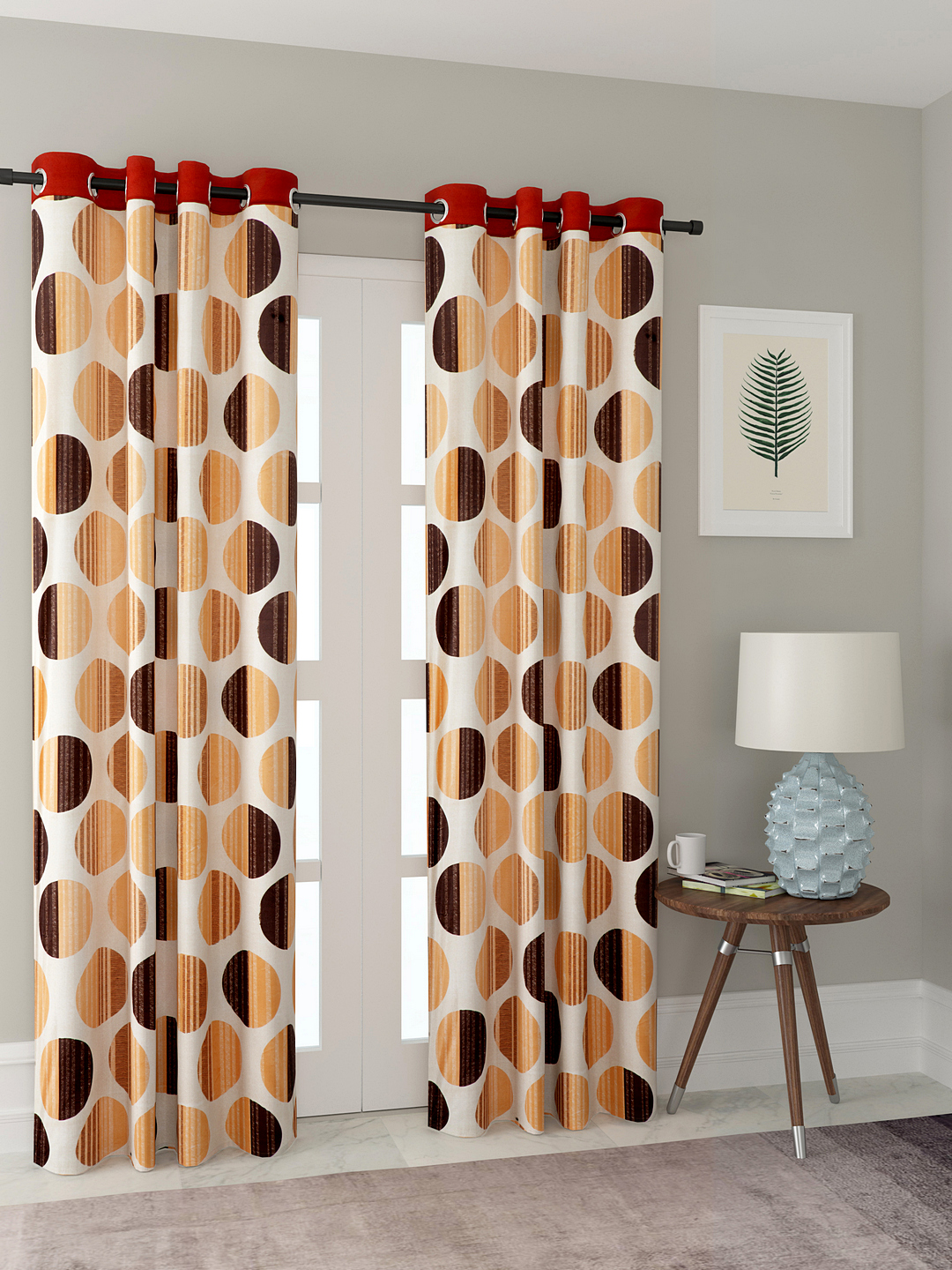 Polyester Printed Long Door Curtains for Bedroom, Kitchen, Kids or Living Room-018_Set of 2