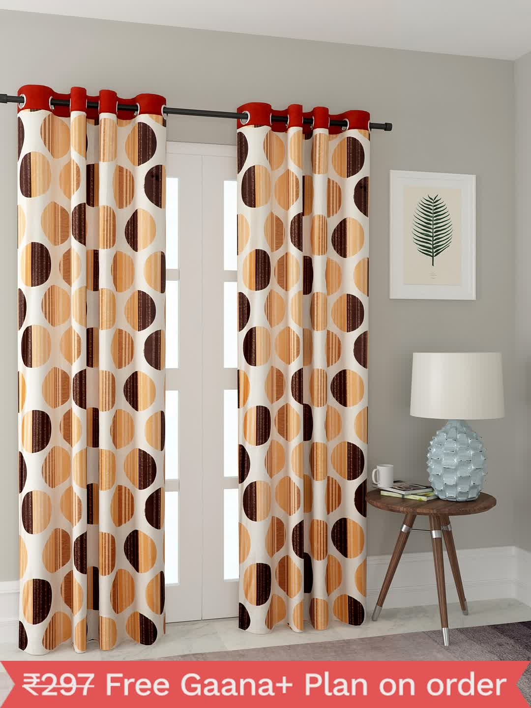 Polyester Printed Window Curtains for Bedroom, Kitchen, Kids or Living Room-018_Set of 2 - 1, Large