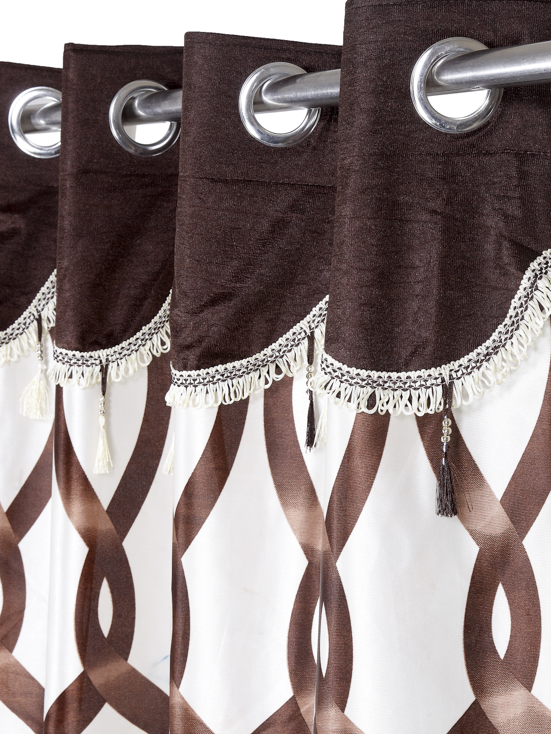 Cortina - Pack of 2 Decorative, Fancy, Eyelet Long Door Curtain set (270 x 115 cm), All over Geometric pattern, Brown, Fringe and tassle detail