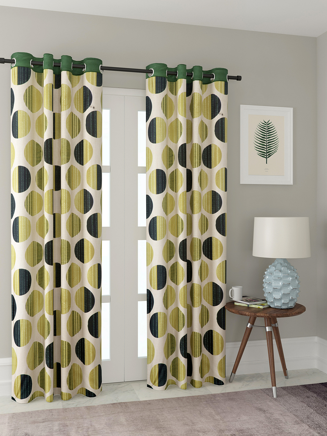 Polyester Printed Long Door Curtains for Bedroom, Kitchen, Kids or Living Room-017_Set of 2