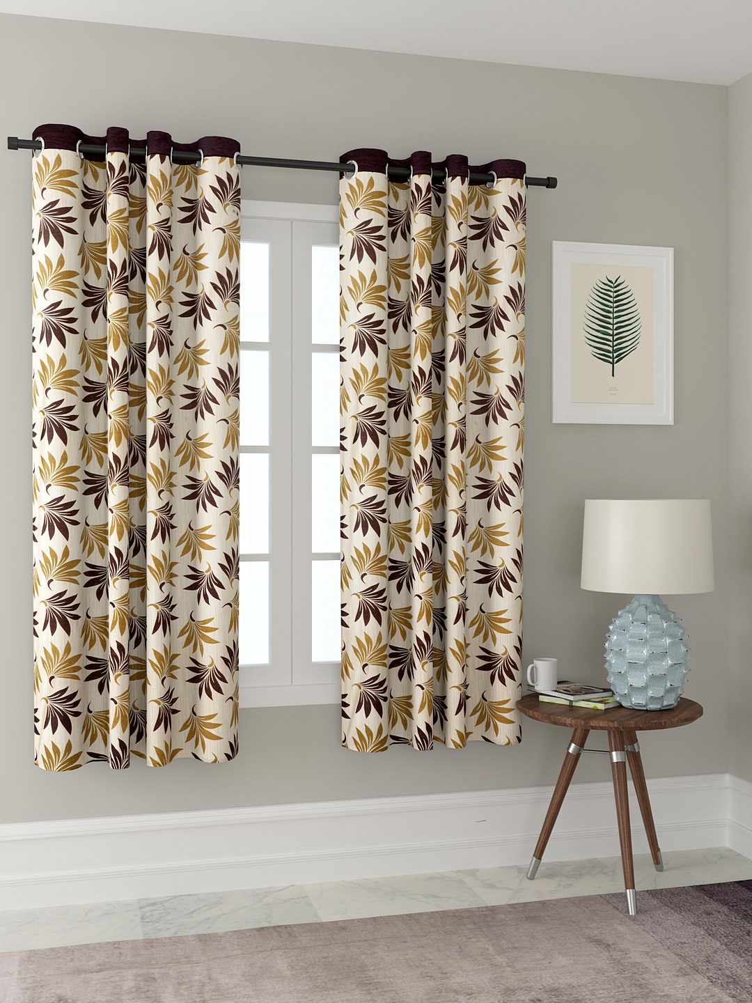 Polyester Printed Window Curtains for Bedroom, Kitchen, Kids or Living Room-022_Set of 2