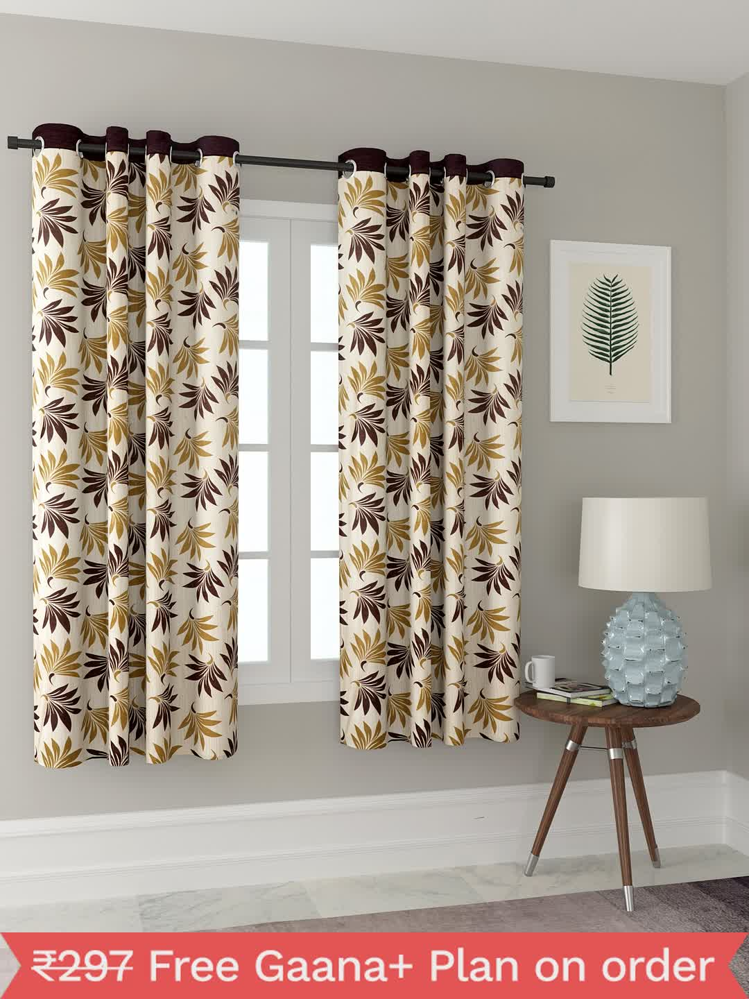 Polyester Printed Window Curtains for Bedroom, Kitchen, Kids or Living Room-022_Set of 2 - 1, Small