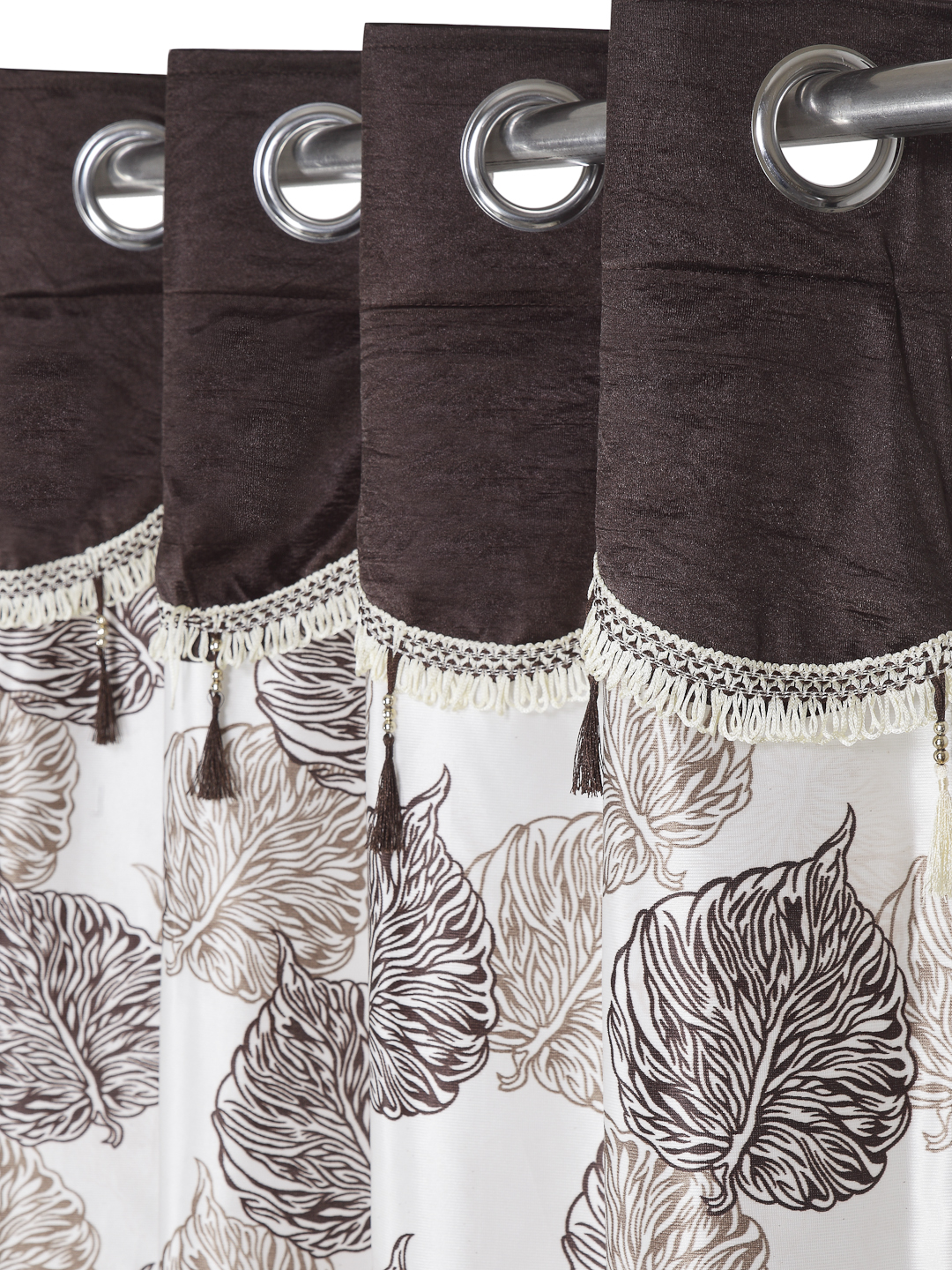Cortina - Pack of 2 Decorative, Fancy, Eyelet Door Curtain set (210 x 115 cm), All over Leafy pattern, Brown, Fringe and tassle detail