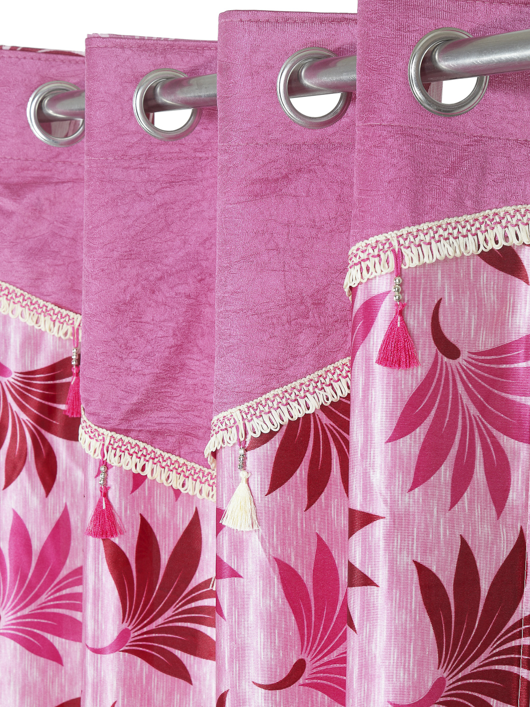 Cortina - Pack of 2 Decorative, Fancy, Eyelet Door Curtain set (210 x 115 cm), All over Leafy pattern, Pink, Fringe and tassle detail