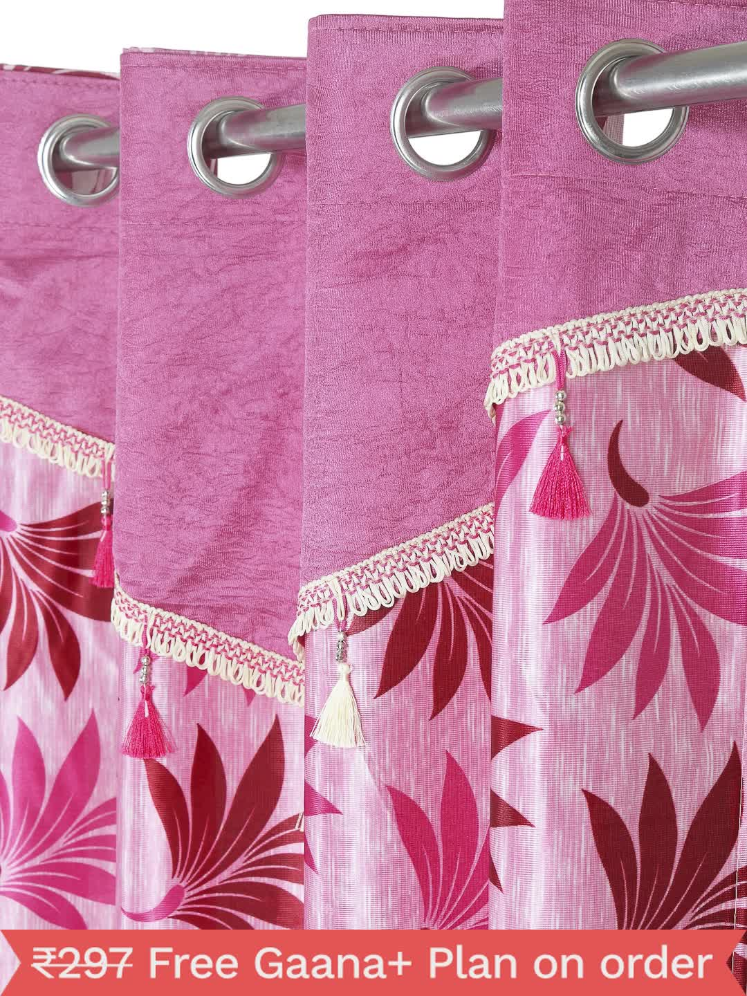 Cortina - Pack of 2 Decorative, Fancy, Eyelet Window Curtain set (150 x 115 cm), All over Leafy pattern, Pink, Fringe and tassle detail  - 1, Medium