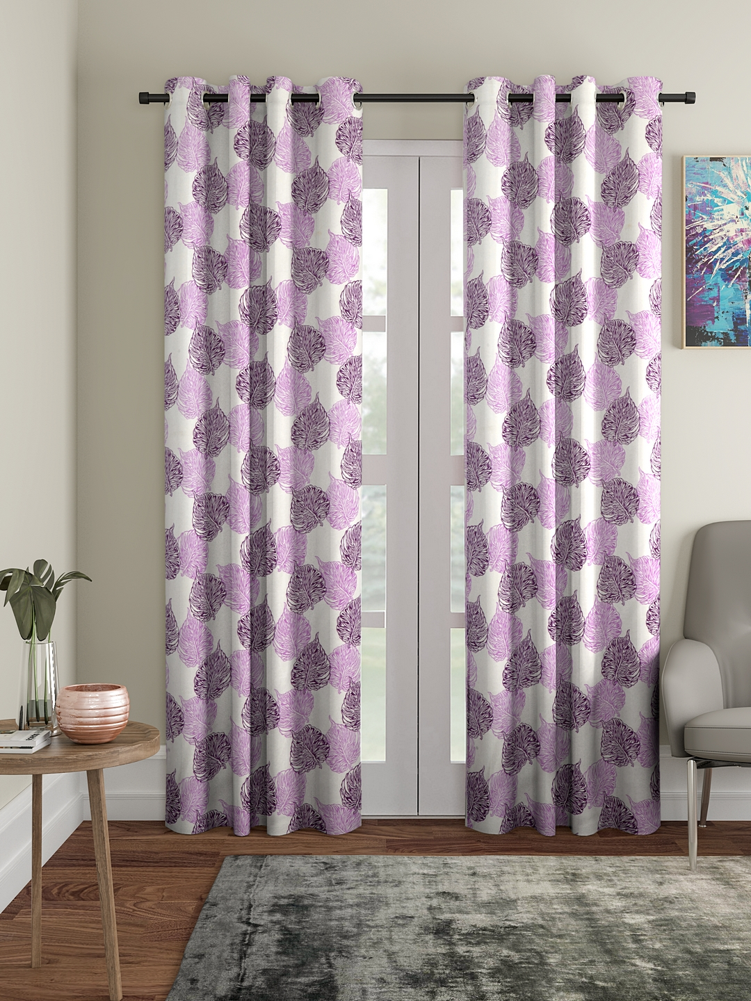 Polyester Plain Printed Door Curtains for Bedroom, Kitchen, Kids or Living Room-036_Set of 2