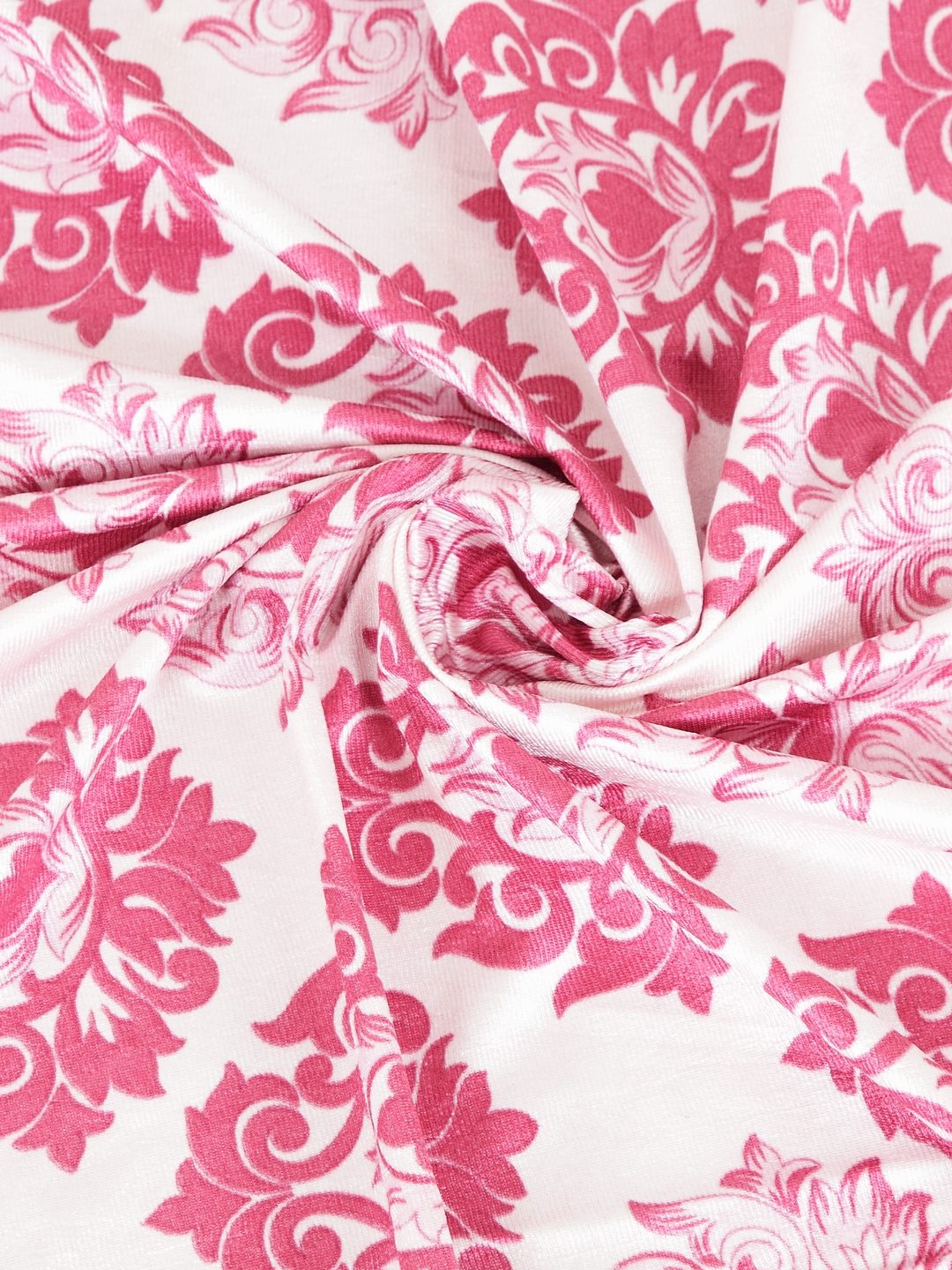 Cortina - Pack of 2 Decorative, Fancy, Eyelet Door Curtain set (210 x 115 cm), All over Damask pattern, Pink, Fringe and tassle detail