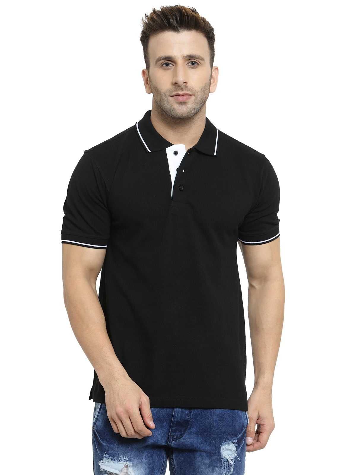 Scott International Men's Black Organic Cotton Polo T-shirt