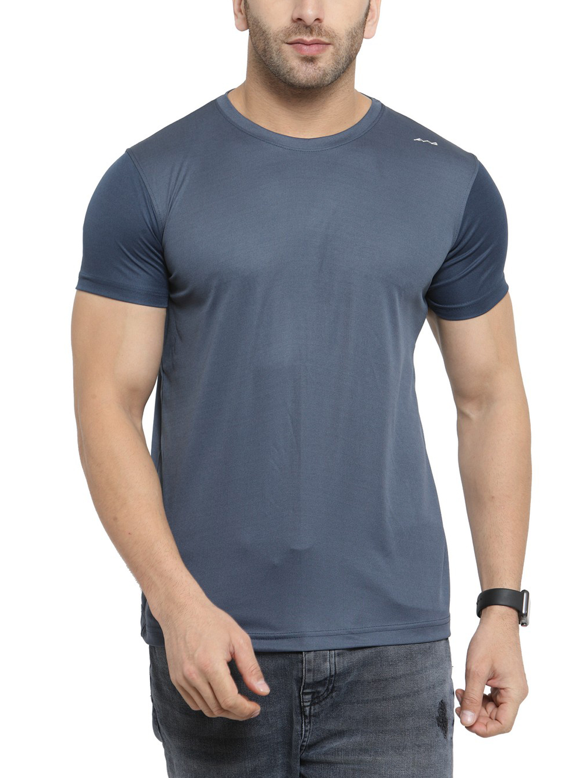 AWG Men's Grey Jersey Dryfit Polyester Round Neck T-shirt