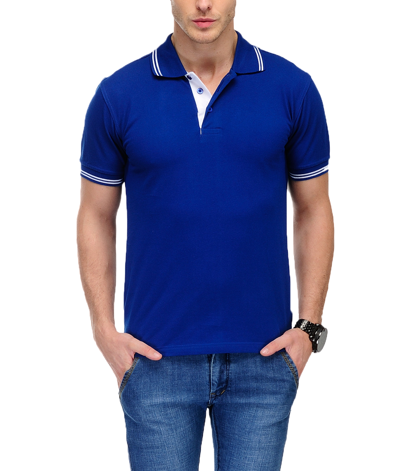 AWG Men's  Blue Recycled Organic Polo T-shirt