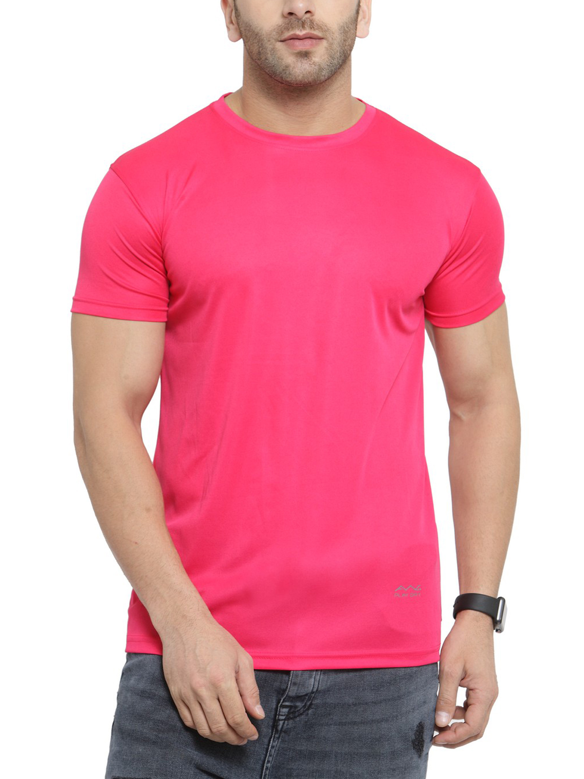 AWG Men's Pink Jersey Dryfit Polyester Round Neck T-shirt
