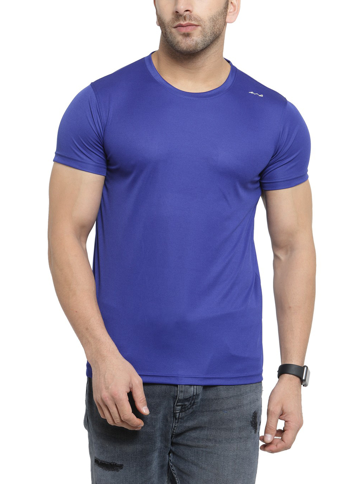 AWG Men's Blue Jersey Dryfit Polyester Round Neck T-shirt