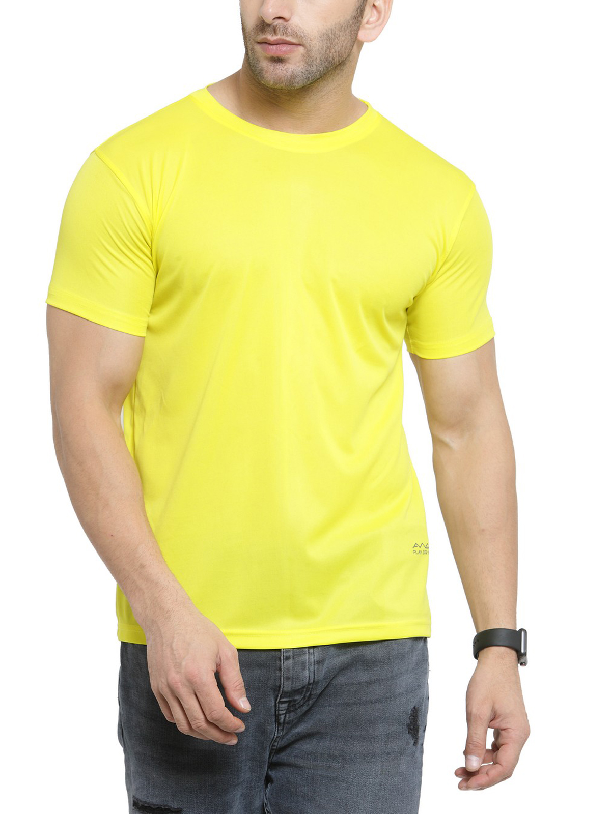 AWG Men's Yellow Jersey Dryfit Polyester Round Neck T-shirt