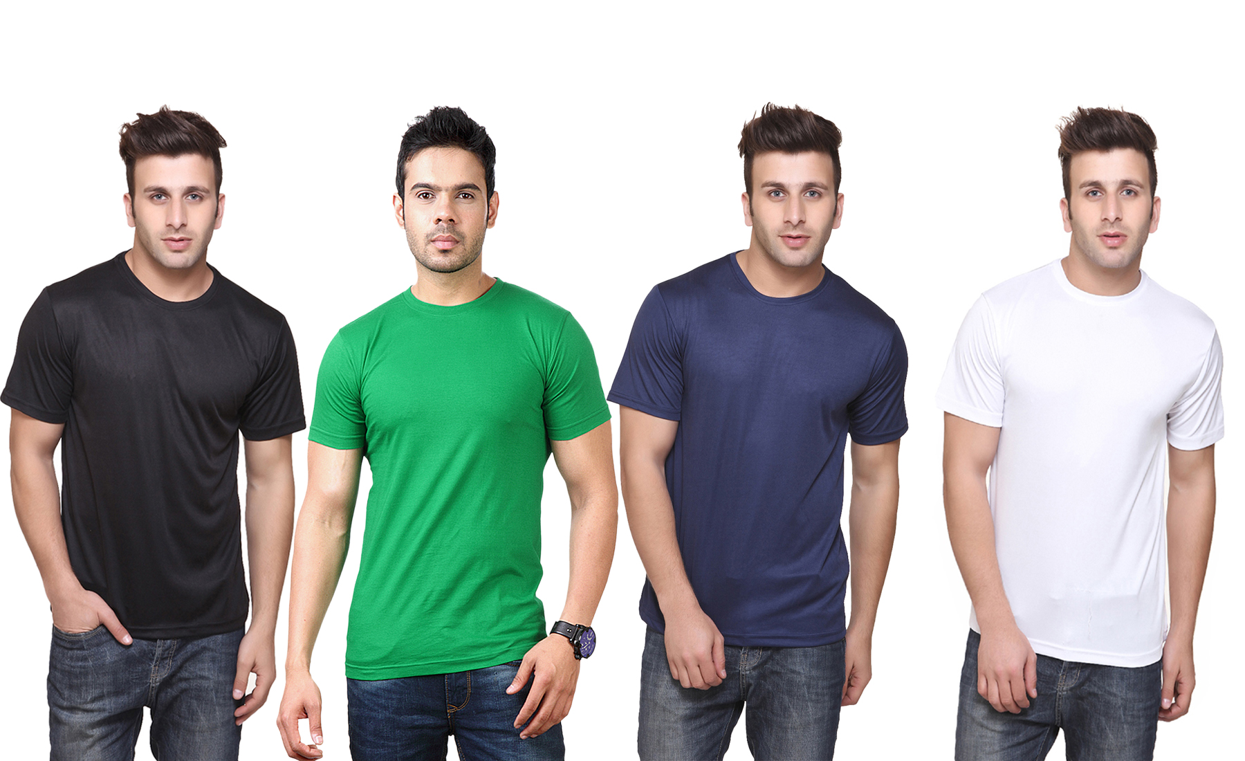 Ketex Polyester Slim Fit T Shirt For Men (Pack Of 4)