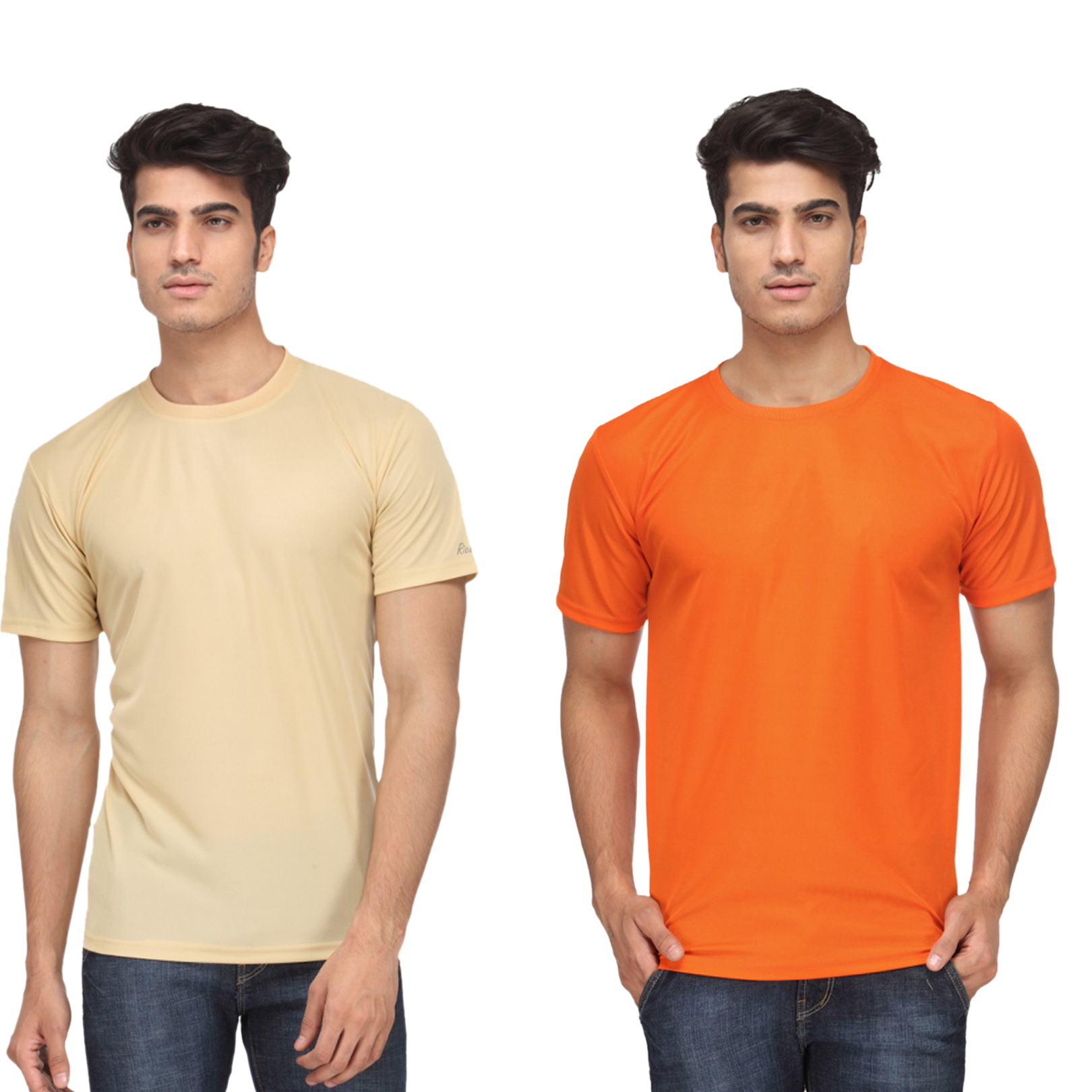 Ketex Round Neck Men'S Polyster Blend Slim Fit Tshirts (Pack Of 2)