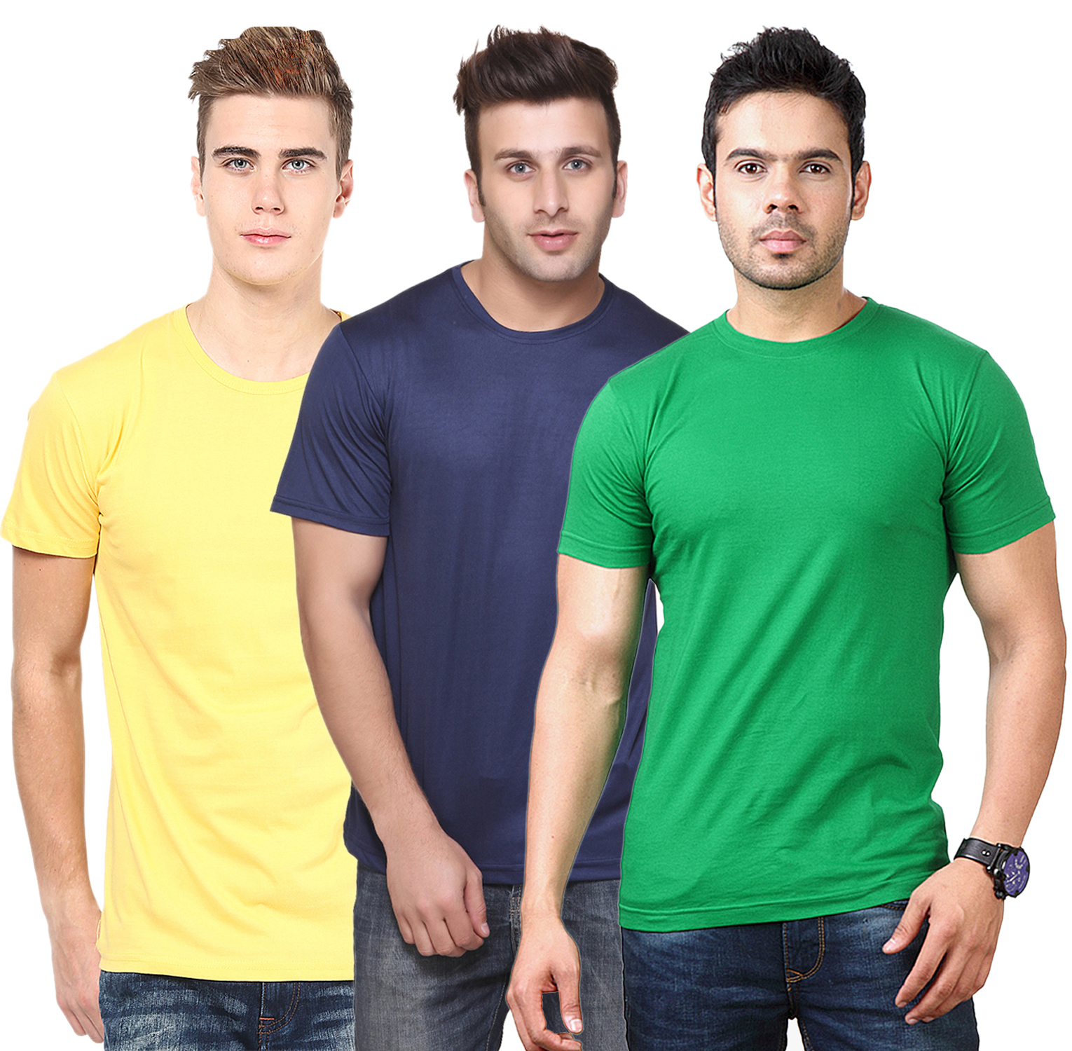 Ketex Round Neck Men'S Polyster Blend Slim Fit Tshirts (Pack Of 3)