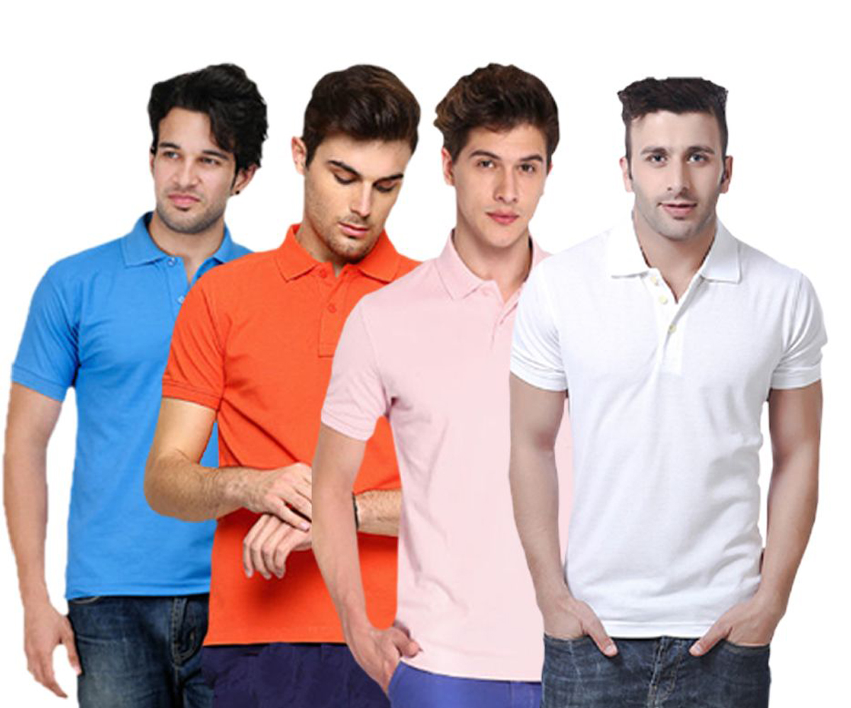 MS Fashion Polyster /Cotton Blend Polo Collar Men'S Tshirt . (Pack Of 4)
