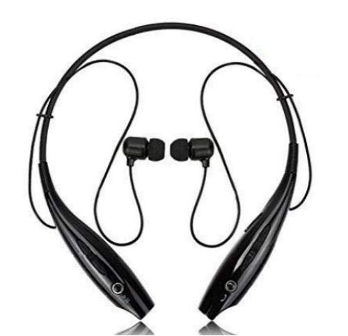 RSFuture HBS 730 Wireless Neckband Bluetooth Earphone Headset Earbud Portable Headphone Handsfree Sports Running Sweatproof Compatible Android Smartphone Noise Cancellation - (Black)