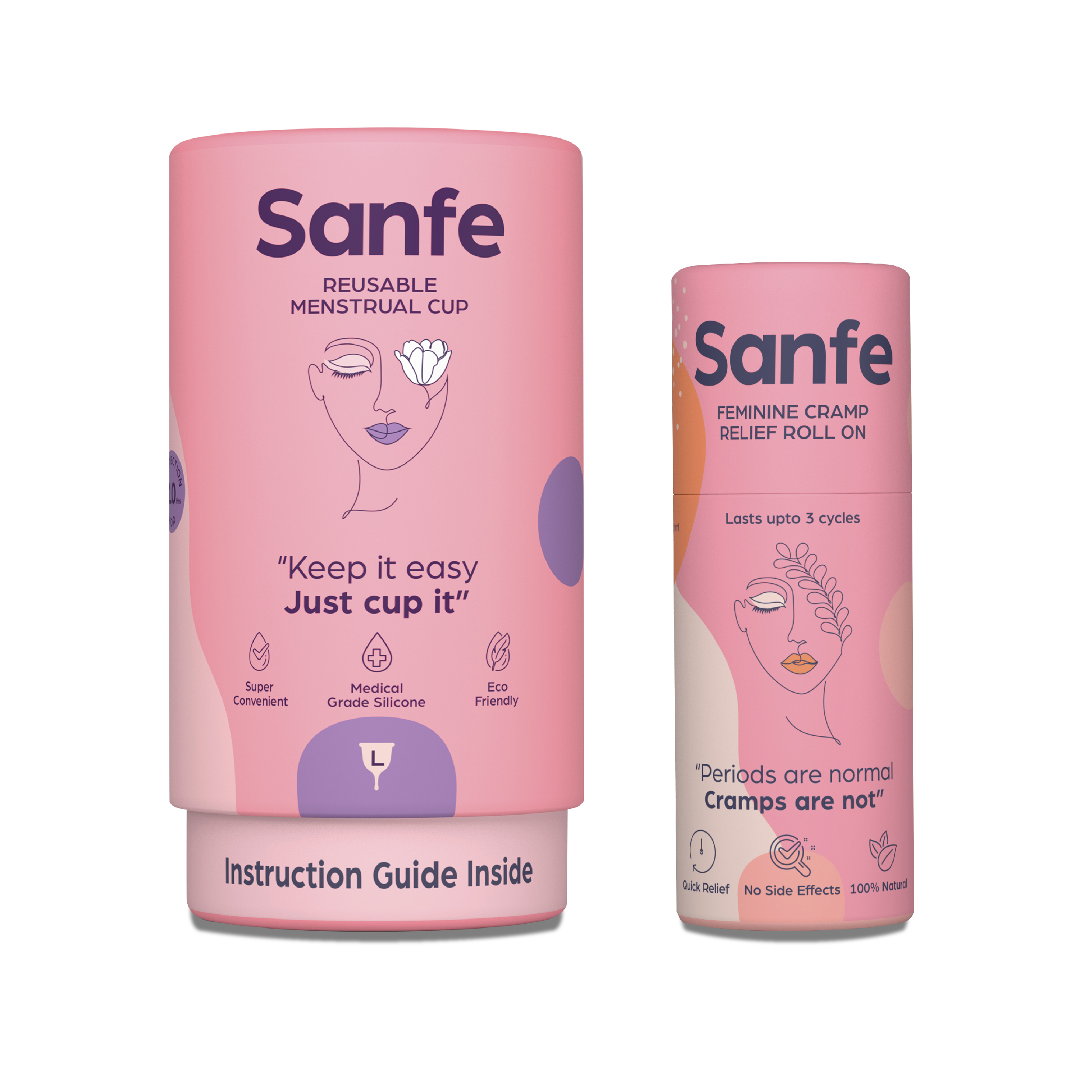 Sanfe Miracle Period Set - Perfect Fit Menstrual Cups Large and Feminine Cramp Relief Roll On - 10ML