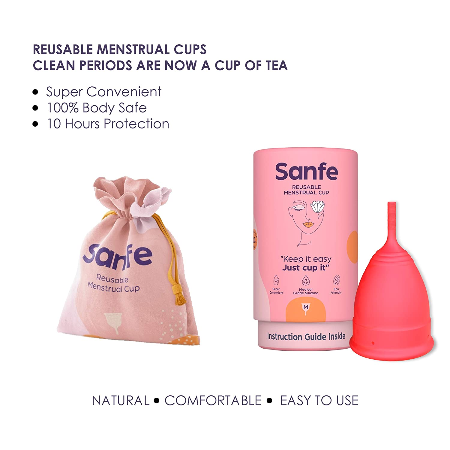 Sanfe Reusable Menstrual Cup with No Rashes, Leakage Or Odor - Premium Design for Women - Medium (Pack of 2)