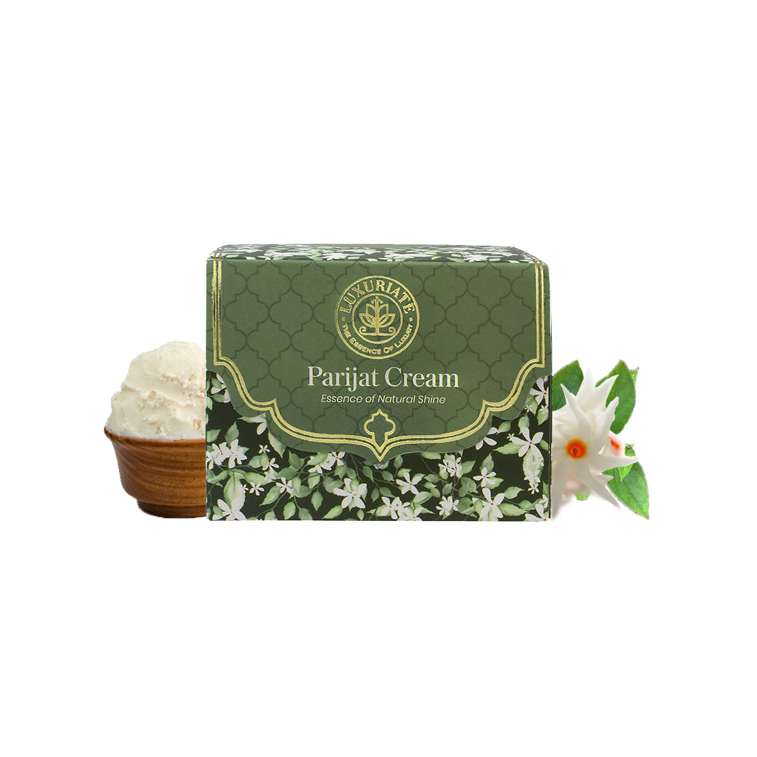 LUXURIATE Natural Parijat  Essence of Natural Shine Moisturizer Cream with Shea Butter Almond and Parijat Essential Oil Facial Cream for Men and Women, 50 gm