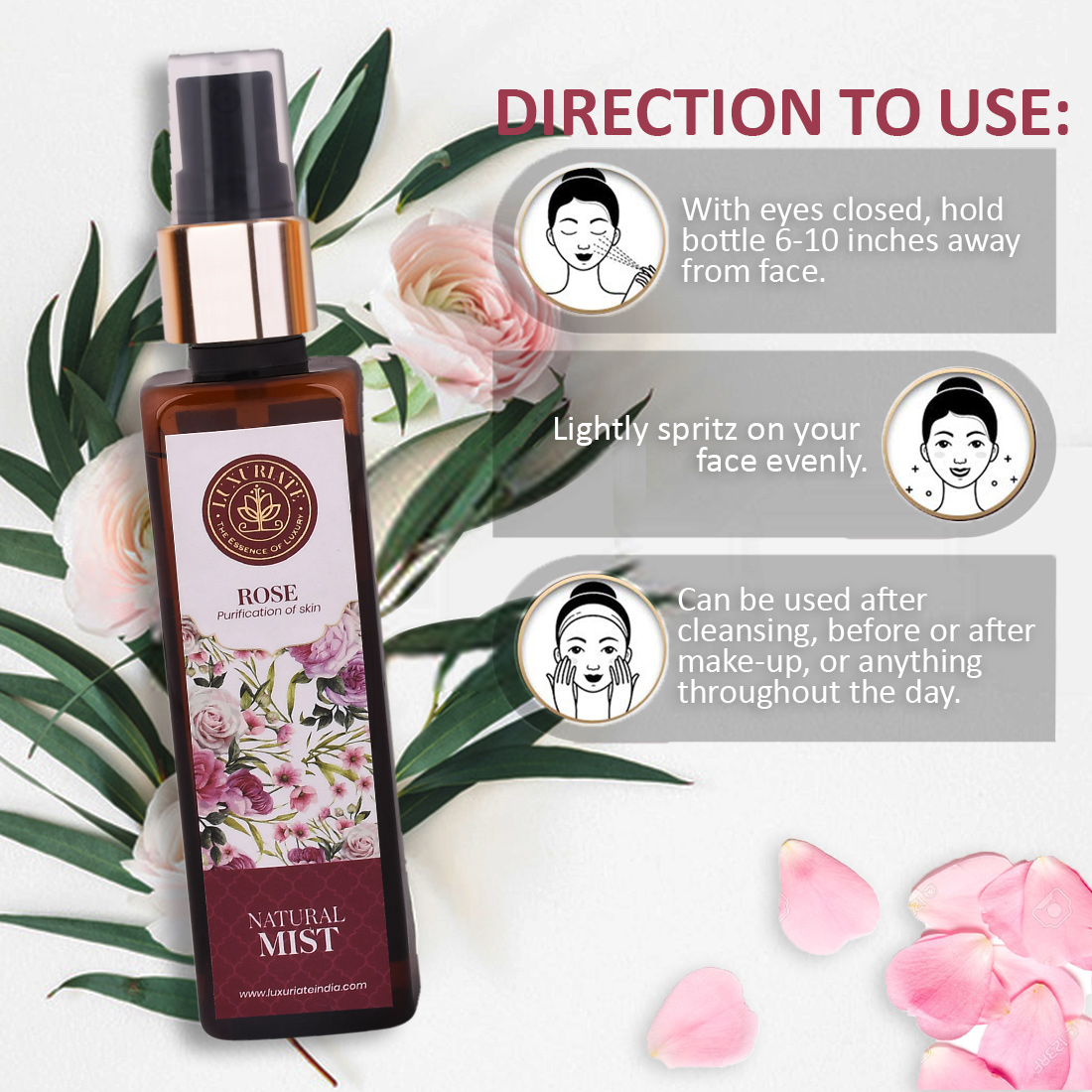 LUXURITE Pure and Natural Skin/Face Rose Mist for Dry Skin Enhances Glow for Men and Women, 100 ml
