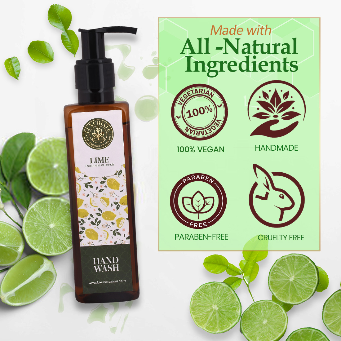 LUXURIATE Lime Freshness in Hands Removes Germs, Refreshing Fragrance Gentle Foaming Hand Wash Liquid Soap, 200 ml