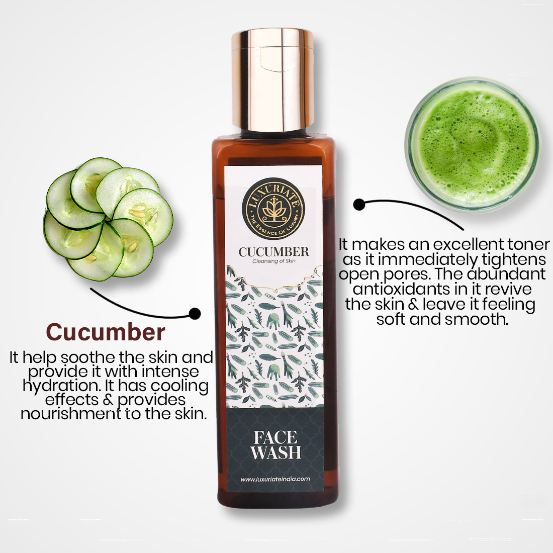 LUXURIATE Cucumber Herbal Cleansing Face Wash for Men and Women, 100 ml