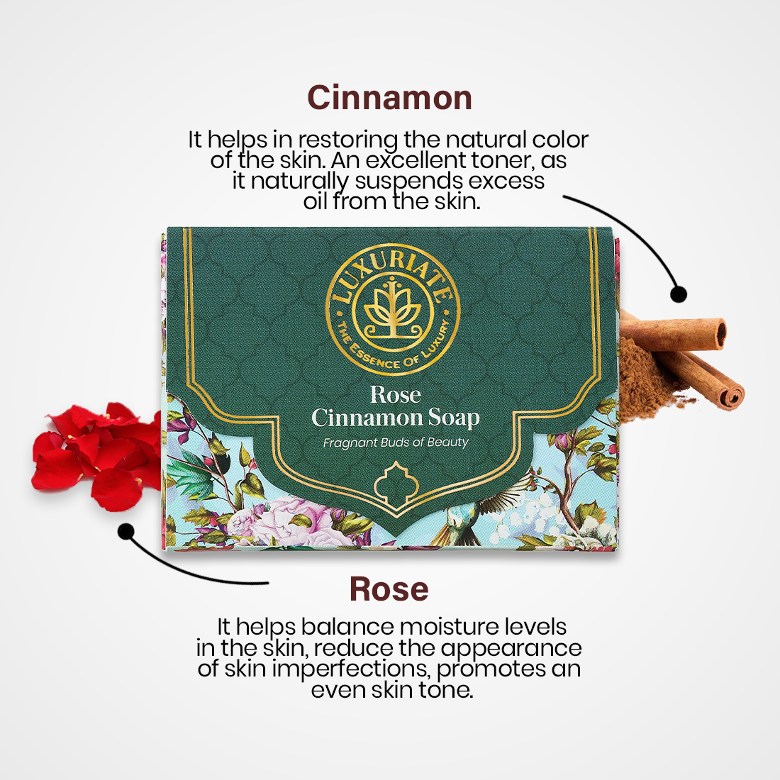 LUXURIATE Rose Cinnamon Fragnant Buds of Beauty Soap Bar for Men and Women,125 gm