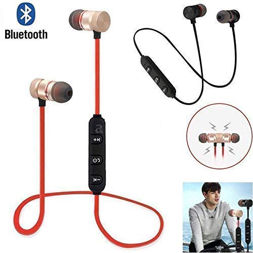 ClickAway Wireless Sports Bluetooth Magnet Earphone Hands-Free Headphone with Earphone Case SD Cards, Sim Cards Secure Support for All Smartphone (Assorted Colour)