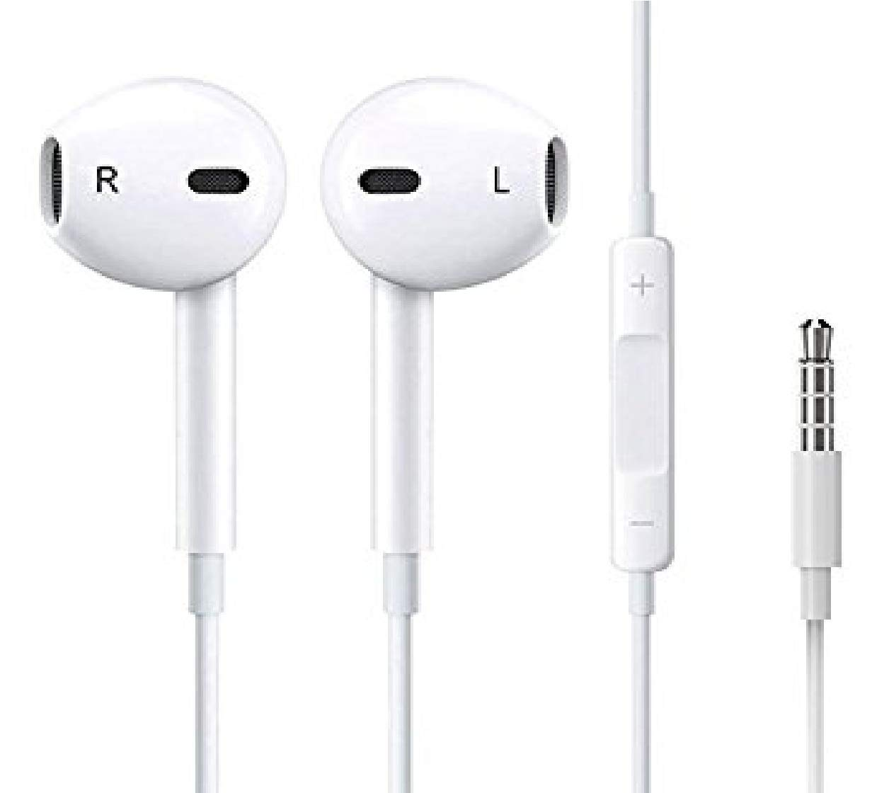 ClickAway 3.5mm Earphone Original with mic and Remote Control Earphone Compatible for APPL-e i-Phone 4 / 4s / 5 / 5s / 6 / 6s i-Pad (White)