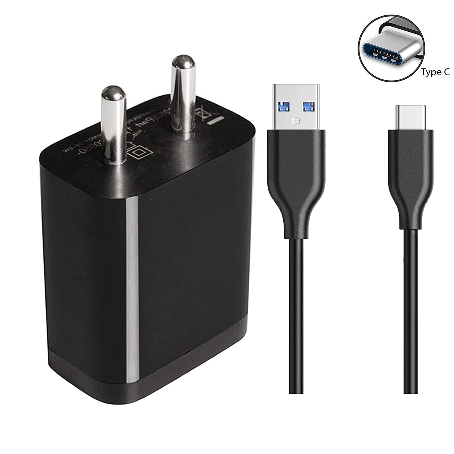ClickAway 3.0 Charger Type C for Xiaomi Redmi Charger Adapter Wall Charger with 1 metr Type C data cable