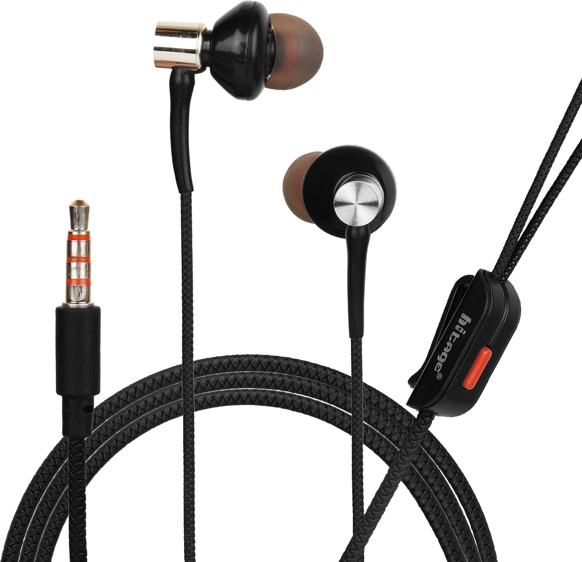 Hitage in-Ear Earphone Wired Headset with HD Voice Mic (Black) Wired Headset (Black, In the Ear)